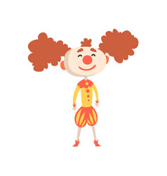 funny cartoon clown in a medieval costume and vector image