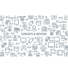 gadget thin line banner vector image
