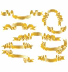 gold ribbons set vector image