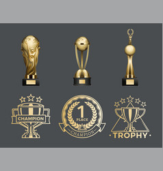 gold trophy cups and medals for 1st place set vector image