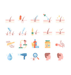 Hair loss treatment colored flat line icons set vector