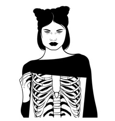 Hand drawn surreal ofgirl with ribs isolated vector