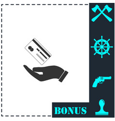 hands and credit card icon flat vector image