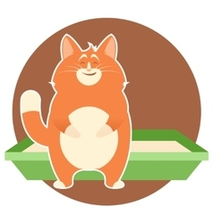 Happy Cat and its litter vector