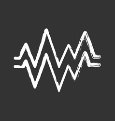heart beat chalk icon sound and audio wave vector image