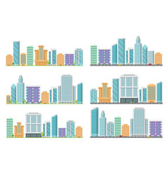 horizontal seamless urban landscapes with various vector image