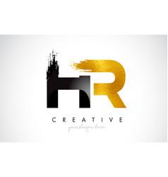 Hr letter design with brush stroke and modern 3d vector