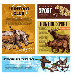 Hunting club open season sketch posters vector