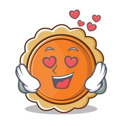 in love pumpkin pie character cartoon vector image