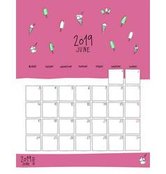 june 2019 wall calendar doodle style vector image