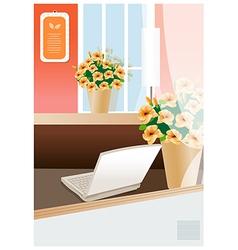 Laptop modern office vector