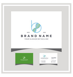 Letter b dna logo design with business card vector