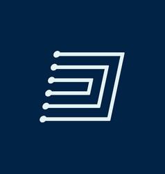 Letter d font maze italic geometric vector
