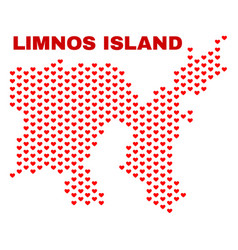 limnos island map - mosaic of lovely hearts vector image