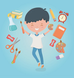 little student boy with school supplies vector image