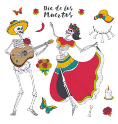 Male and female skeleton play the guitar and dance vector