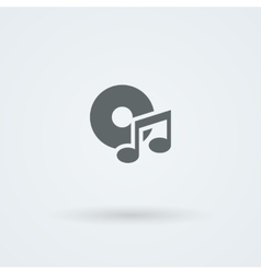 Minimalistic music icon Disk and a note vector image