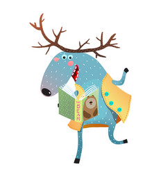 Moose reading a book vector