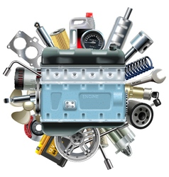 Motor Engine with Car Spares vector image