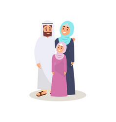 muslim arabic family in traditional clothing vector image