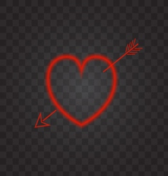 Neon heart with an arrow on a transparent vector