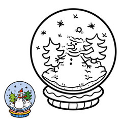 numbers game for children snowball with snowman vector image