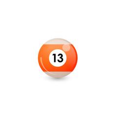 Orange billiard ball number 13 vector
