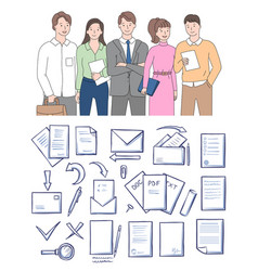 papers or documents in envelope workers vector image
