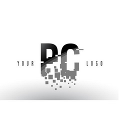 Pc p c pixel letter logo with digital shattered vector