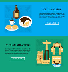 Portugal architecture and cuisine banner templates vector