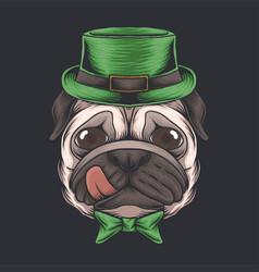 pug dog head st patricks day vector image