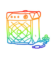 Rainbow gradient line drawing electric guitar amp vector