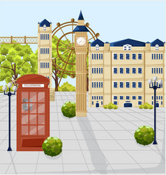 red phone booth in london architecture vector image