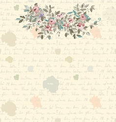 Retro letter background with flowers and text vector image