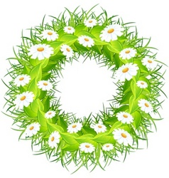 round wreath of flowers green leaves on white back vector image