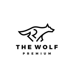 running wolf monoline outline logo icon vector image