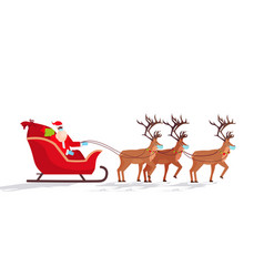 santa in mask riding sledge with reindeers happy vector image