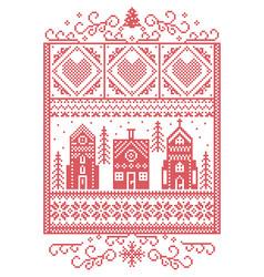 Scandinavian christmas winter wonderland pattern vector