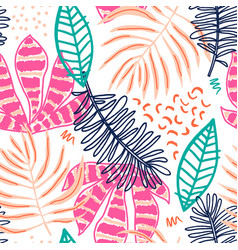 seamless tropical pattern with hand drawn plants vector image