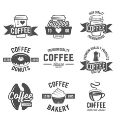 set badges and labels elements for coffee vector image