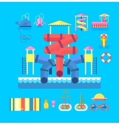 set elements water park vector image