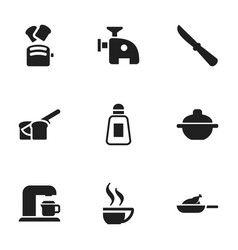 set of 9 editable meal icons includes symbols vector image