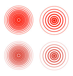 set of red pain rings symbol of growing physical vector image