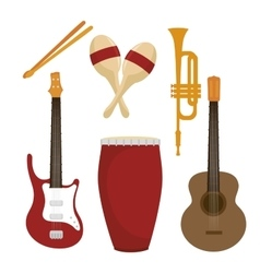 set the musical instruments isolated icon design vector image