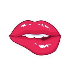 sexy mouth with bright red glossy bitten lips vector image