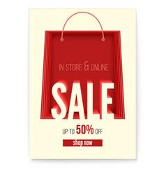 shopping bag on poster with sales action in store vector image