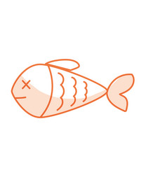 Silhouette delicious fish food with natural vector