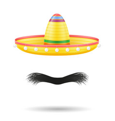 sombrero national mexican headdress and mustache vector image