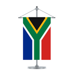 South african flag on the metallic cross pole vector