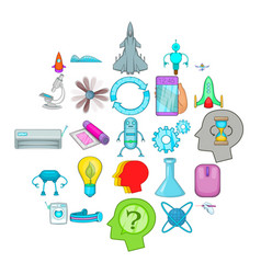 space technology icons set cartoon style vector image